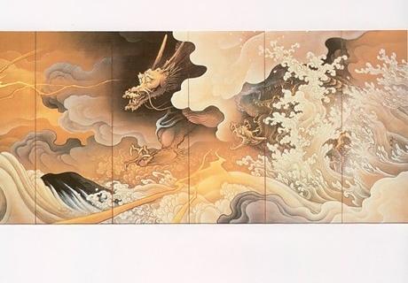 橋本雅邦 龍虎図