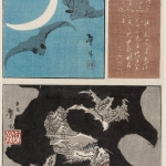 葛飾戴斗 月に蝙蝠、雲竜、書