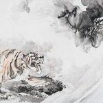 久保田米僊 龍虎図
