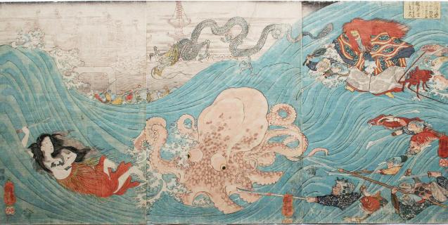 国芳 玉取り(海女と大蛸)