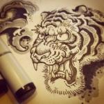コピックで描いた習作。色数が少ないとグラデが綺麗に描け無いなぁ。#tiger #虎 #copic