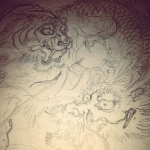 最近の下絵 #tiger #dragon