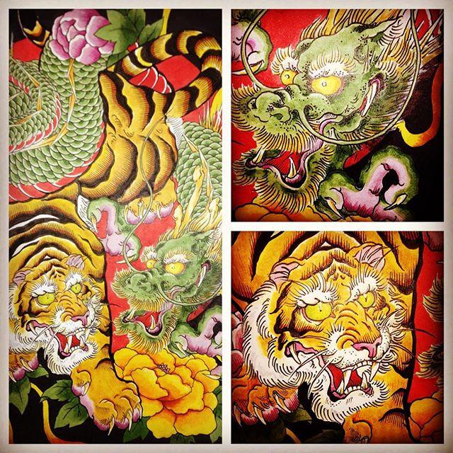 #虎 #tiger #龍 #dragon #刺青 #tattoo #tattooart