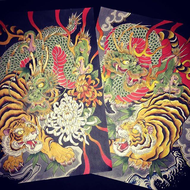 最近の作品!#虎 #tiger #龍 #dragon #刺青 #tatoo