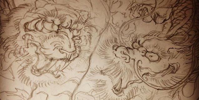 #虎 #tiger #龍 #dragon #刺青 #tatoo #下絵