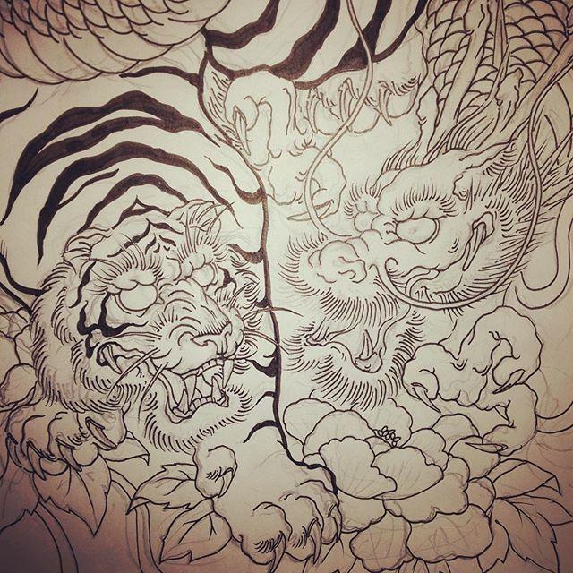 #虎 #tiger #龍 #dragon #刺青 #tattooart #tattoo