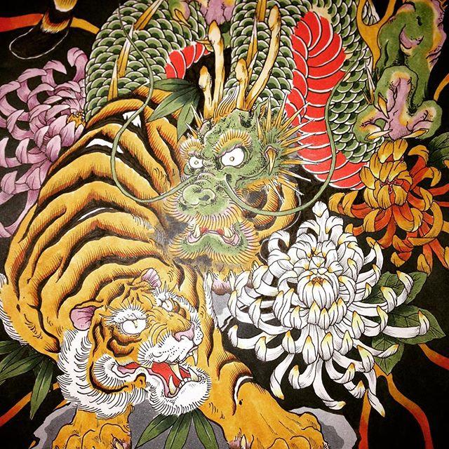 彩色完了!#虎 #tiger #龍 #dragon #刺青 #tatoo