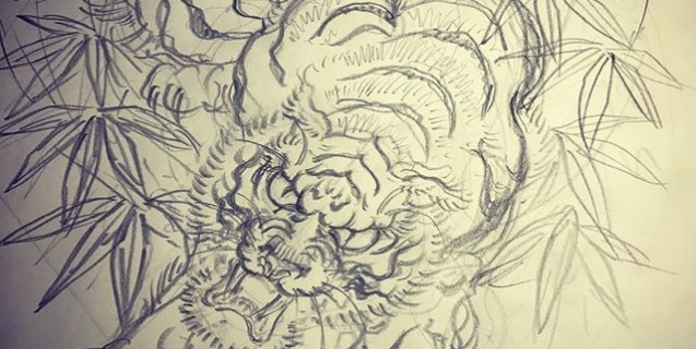 虎の線画完了#tiger #tattoo #irezumi #虎 #刺青 #下絵 #線画
