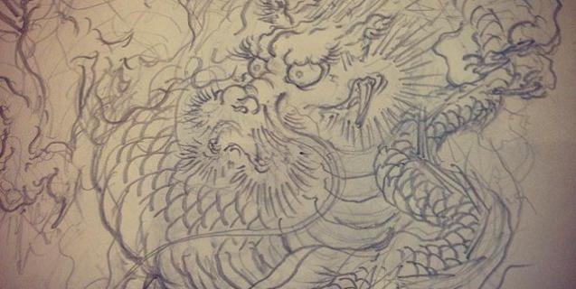 線画ラフ完了。パス素材として考えている作品なので次はイラレでパス化!#龍 #刺青 #下絵 #tattoo #irezumi #dragon