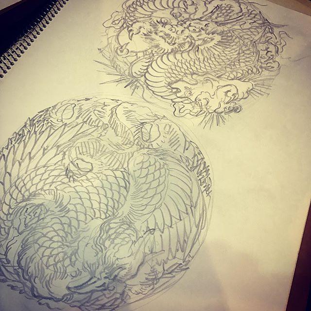 円形のをいくつか#鳳凰 #龍
