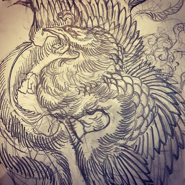 試行錯誤#下絵 #線画 #刺青 #鳳凰 #tattoo #irezumi #japanesephoenix