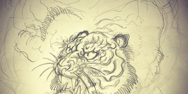 虎の顔に四苦八苦#刺青 #irezumi #tattoo #虎 #tiger #下絵