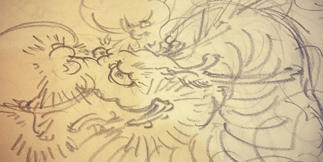 龍を書き始め。#刺青 #下絵 #irezumi #tattoo #龍 #dragon