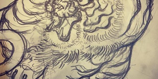 とりあえず線画完了。#虎 #tiger #tattoo #irezumi #下絵 #刺青