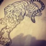 いい感じ。#下絵 #刺青 #irezumi #虎 #tiger