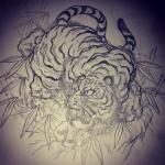 試行錯誤#刺青 #irezumi #tattoo #虎 #tiger #線画