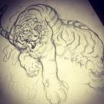 難産。。。#虎 #tiger #tattoo #irezumi #刺青#下絵
