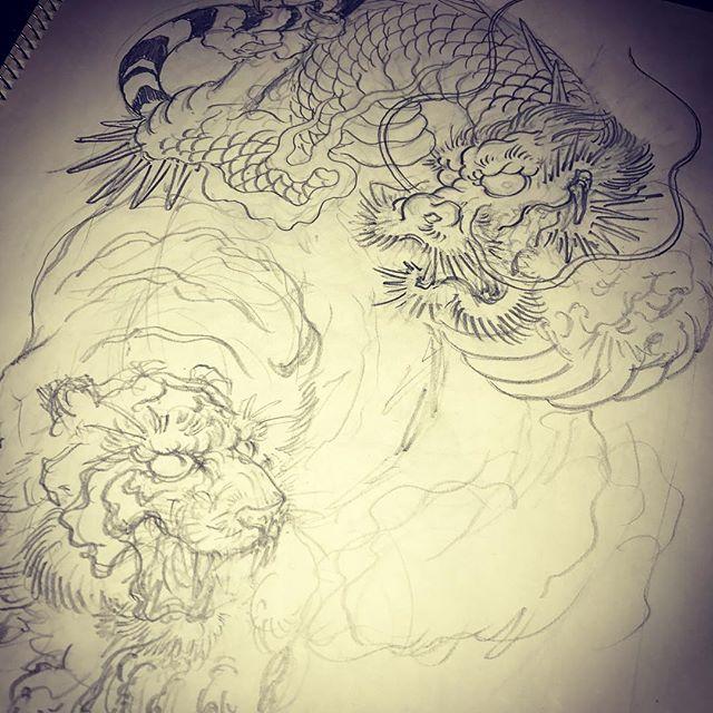 #刺青 #irezumi #tattoo #下絵 #虎 #tiger #龍 #dragon