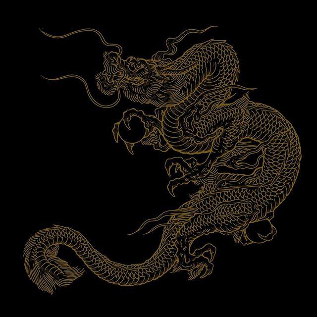 #dragon #龍 #illustrator #tattoo 一応、パス化完了。