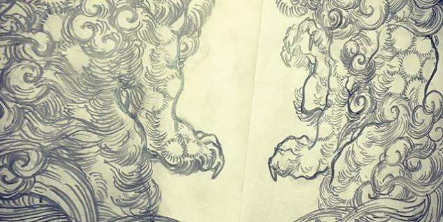阿吽唐獅子。両方とも口開けてた。#唐獅子 #karajishi #lion #japaneselion #和柄 #japanesetraditional #刺繍 #embroidery #tattoo #刺青