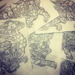 唐獅子ばっかり。左向きの顔ばっかり。クセかな。#唐獅子 #karajishi #lion #japaneselion #和柄 #japanesetraditional #刺繍 #embroidery #tattoo #刺青