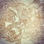 来年アートブックに掲載するかもしれないイラスト作成中。#phoenix #japanesephoenix #鳳凰 #dragon #tigeranddragon #龍 #龍虎#竜 #竜虎 #tiger #虎 #唐獅子 #karajishi #lion #japaneselion #和柄 #japanesetraditional #和風 #japanesestyle #刺繍 #embroidery #tattoo #刺青