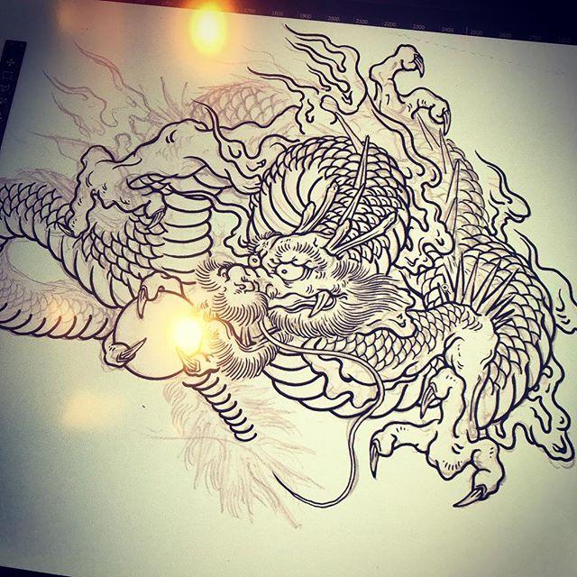 まずは龍から。#phoenix #japanesephoenix #鳳凰 #dragon #tigeranddragon #龍 #龍虎#竜 #竜虎 #tiger #虎 #唐獅子 #karajishi #lion #japaneselion #和柄 #japanesetraditional #和風 #japanesestyle #刺繍 #embroidery #tattoo #刺青