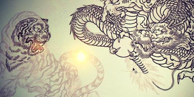 虎の描き始め。#phoenix #japanesephoenix #鳳凰 #dragon #tigeranddragon #龍 #龍虎#竜 #竜虎 #tiger #虎 #唐獅子 #karajishi #lion #japaneselion #和柄 #japanesetraditional #和風 #japanesestyle #刺繍 #embroidery #tattoo #刺青