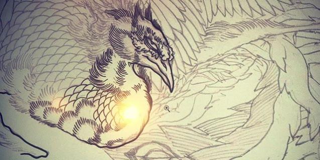 次は鳳凰を描きますか。今日は #クレイジーケンバンド の#タイガーアンドドラゴン を聴きながら。#phoenix #japanesephoenix #鳳凰 #dragon#tigeranddragon #龍 #龍虎#竜 #竜虎 #tiger #虎 #唐獅子 #karajishi #lion #japaneselion #和柄#japanesetraditional #和風 #japanesestyle #刺繍#embroidery #tattoo #刺青