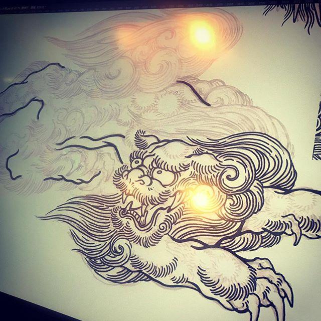 唐獅子始めました。#phoenix #japanesephoenix #鳳凰 #dragon#tigeranddragon #龍 #龍虎#竜 #竜虎 #tiger #虎 #唐獅子 #karajishi #lion #japaneselion #和柄#japanesetraditional #和風 #japanesestyle #刺繍#embroidery #tattoo #刺青