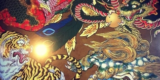 さてと、背景どうしよう。。#phoenix #japanesephoenix #鳳凰 #dragon#tigeranddragon #龍 #龍虎#竜 #竜虎 #tiger #虎 #唐獅子 #karajishi #lion #japaneselion #和柄#japanesetraditional #和風 #japanesestyle #刺繍#embroidery #tattoo #刺青