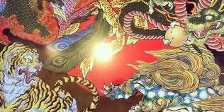 進んでるのか、進んでないのか。Not much progress.#phoenix #japanesephoenix #鳳凰 #dragon#tigeranddragon #龍 #龍虎#竜 #竜虎 #tiger #虎 #唐獅子 #karajishi #lion #japaneselion #和柄#japanesetraditional #和風 #japanesestyle #刺繍#embroidery #tattoo #刺青