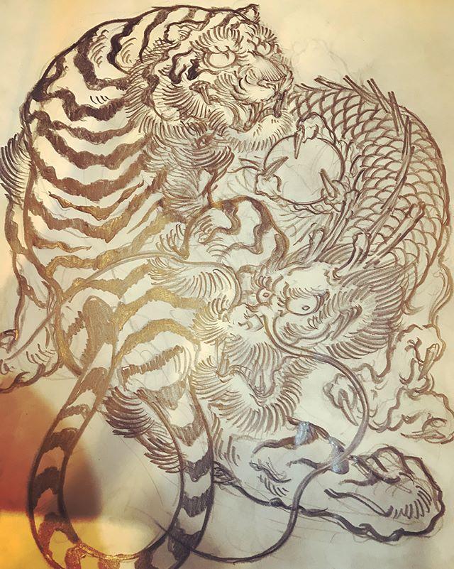 #dragon #tigeranddragon #龍 #龍虎#竜 #竜虎 #和柄#japanesetraditional #和風 #japanesestyle #刺繍 #embroidery #tattoo #刺青 #パス #パス化 #vector  #vectorart