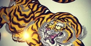 彩色完了。#illustrator #イラストレーター #tiger #虎 #japaneselion #dragon #tigeranddragon #龍 #龍虎#竜 #竜虎 #和柄#japanesetraditional #和風 #japanesestyle #刺繍 #embroidery #tattoo #刺青 #パス #パス化 #vector  #vectorart #鉛筆画 #鉛筆 #ラフ