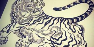 Illustratorに慣れないと。。。#illustrator #tiger #虎 #japaneselion #dragon #tigeranddragon #龍 #龍虎#竜 #竜虎 #和柄#japanesetraditional #和風 #japanesestyle #刺繍 #embroidery #tattoo #刺青 #パス #パス化 #vector  #vectorart #鉛筆画 #鉛筆 #ラフ
