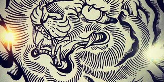 二匹目の虎アップ#illustrator #イラストレーター #tiger #虎 #japaneselion #dragon #tigeranddragon #龍 #龍虎#竜 #竜虎 #和柄#japanesetraditional #和風 #japanesestyle #刺繍 #embroidery #tattoo #刺青 #パス #パス化 #vector  #vectorart #鉛筆画 #鉛筆 #ラフ