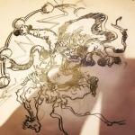 #雷神#illustrator #イラストレーター #和柄 #japanesetraditional #和風 #japanesestyle #刺繍 #embroidery #tattoo #刺青 #パス #パス化 #vector  #vectorart #鉛筆画 #鉛筆 #ラフ
